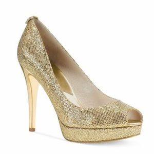 Michael Kors Gold York Metallic Heel Glitter Pump